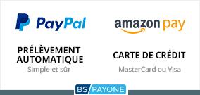 Payez facilement et en toute sécurité via PayPal, Amazon pay, prélèvement automatique ou carte de crédit. Tous les modes de paiement sont gérés par le prestataire de services de paiement BS Payone.