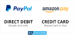 Pay easily and securely via PayPal, Amazon pay, direct debit or credit card. All payment methods are handled by the payment service provider BS Payone.