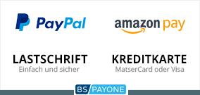 Bezahlen Sie einfach und sicher per PayPal, Amazon pay, Lastschrift oder Kreditkarte. Alle Zahlungsarten werden über den Zahlungsdienstleiser BS Payone abgewickelt.